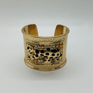Lily Pulitzer Leopard Gold Rhinestone Cuff